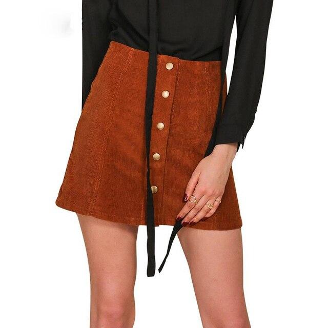 Одежда Ретро вельвет высокая талия юбка линия кнопка тонкий мини-юбки Элегантный однобортный Осень женщины юбка 90-х новый