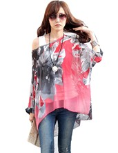 2017 Women's Sexy Batwing Dolman Sleeve Light Chiffon Shirt Bohemian Tops Blouse Plus Size