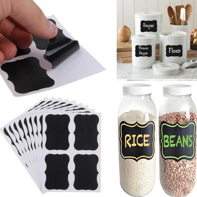 36Pcs/Set  PVC Material Blackboard Sticker Craft Kitchen Jar Organizer Labels Chalkboard Chalk Board Stickers Black