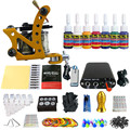 Solong Tattoo New Beginner 1 Pro Machine Gun Tattoo Kit Power Supply Needle Grips tip 7 color ink set TK105-73