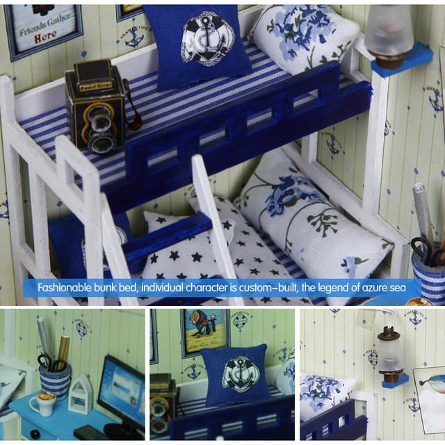DIY Wooden House Miniaturas with Furniture DIY Miniature House Dollhouse Dark Blue Star Dream Toys for Children Birthday Gift