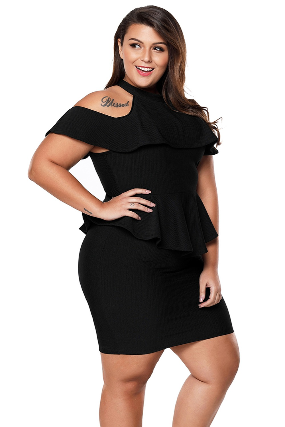 Black-Plus-Size-Cold-Shoulder-Peplum-Bodycon-Dress-LC220308-2-4