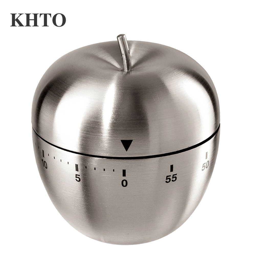 ดาวน์โหลด KHTO สแตนเลสนับถอยหลัง 60 นาทีครัวทำอาหาร Mechanical นาฬิกาปลุกนาฬิกา Apple Shape