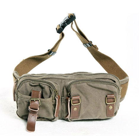 Thick canvas with genuine leather unisex waist bag Men s waist pack belt bag  leisure bag 229-7 palm green