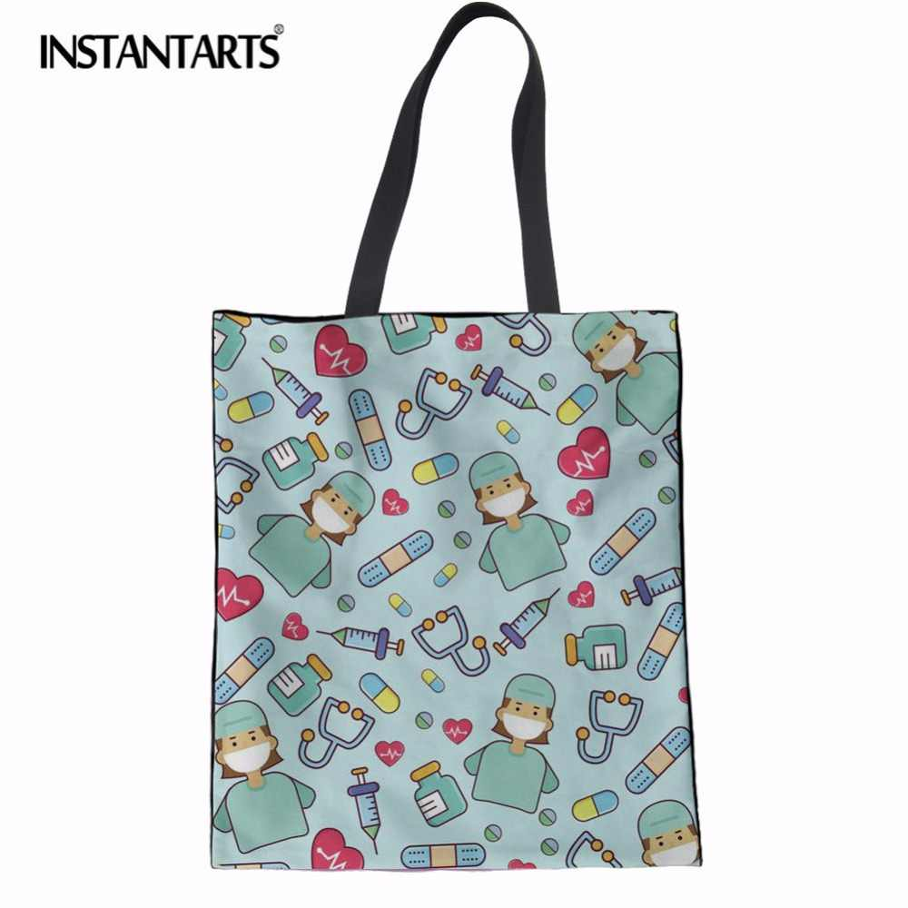 3a546a497ad2 Detail Feedback Questions about INSTANTARTS Eco friendly Canvas Shopping Bag  Casual Reusable Folded Shoulder Bag Ladies Women Nurse Print Linen Laige  Tote ...
