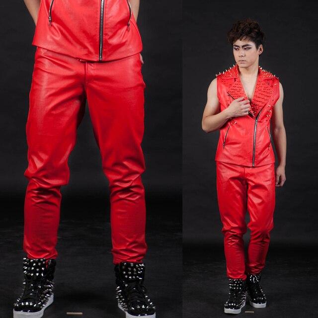 Красный цвет вилочная часть ds приталенный кожа брюки джентльмен певица танцы сцена шоу мужчины в брюки