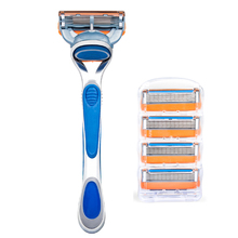 Diversión de Afeitar para Hombre de Afeitar 5-Blade Razor Depiladora, maquinilla de afeitar mango 1 UNID y Cartucho de Cuchillas 5 Unids (Qshave SK5105)