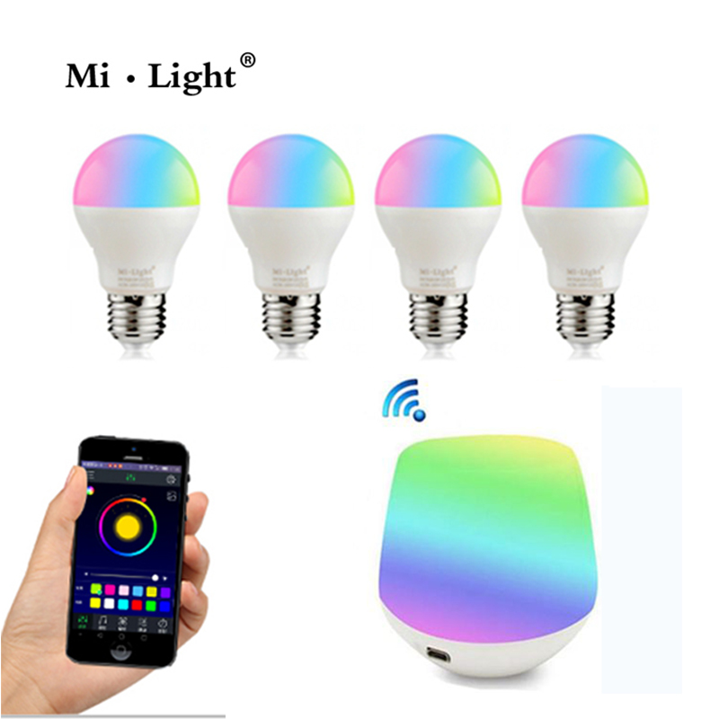 Mi Light 2.4G AC86-260V E27 6W Wifi RGBW WW CW LED Lamp Wireless Brightness adjusting Dimmable LED Bulb and  wifi ibox new dc5v wifi ibox2 mi light wireless controller compatible with ios andriod system wireless app control for cw ww rgb bulb