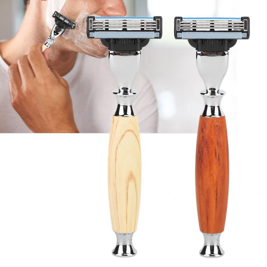 Men Razor Vintage Classic Manual Three-edge Shaving Handle Supplies Head Removable Washable