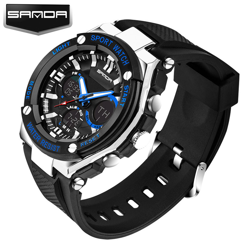 SANDA LED Digital Watch Men 2018 Top Brand Luxury Famous Wristwatch Male Clock Wrist Watch Sport Digital-watch Relogio Masculino