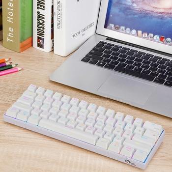 RK61 Wireless Bluetooth Mechanical Gaming Portable 60% Keyboards 61 Keys RGB Single Backlit Backlight Blue Brown Red Switch 6