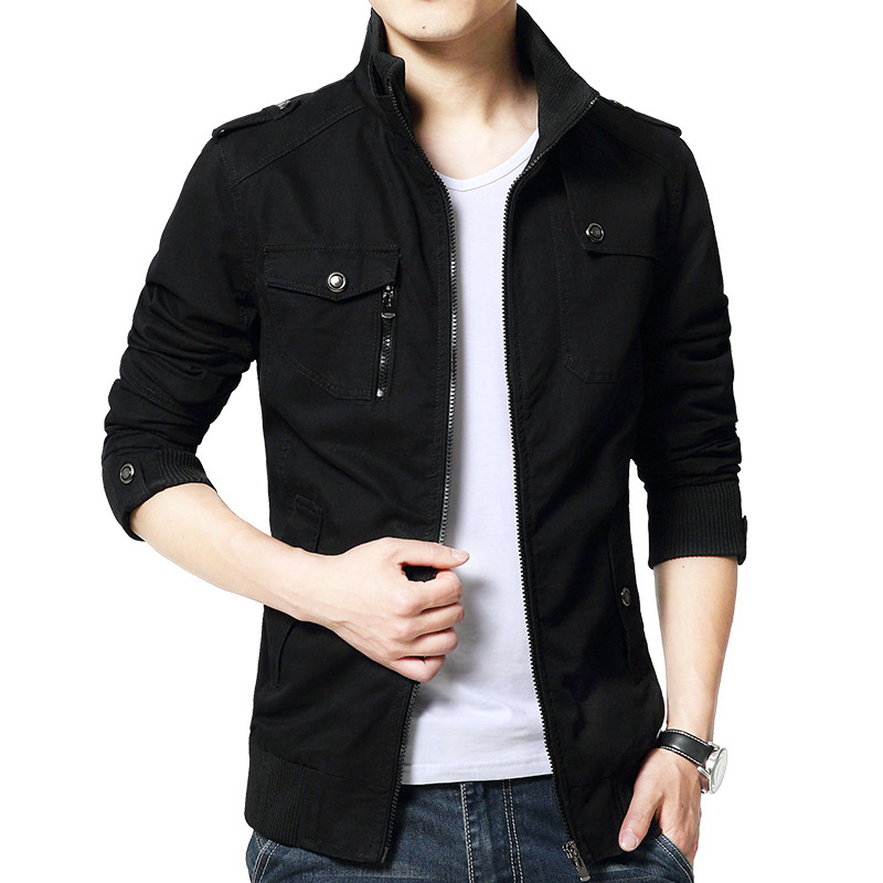 Autumn Vintage Fashion Men Jacket Stand Collar Youth Simple Khaki Casual Jackets Men Cotton Cargo Uniform Classical Jacket Coats