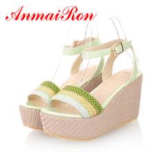 ENMAYER  Large size 34-47 2014 new arrivals fashion sexy wedges high heels sandals for women PU sandals peep toe shoes for women padegao women sandals 2017 fashion high heels wedding party shoes for women lady sandals plus size pu snake peep toe zipper