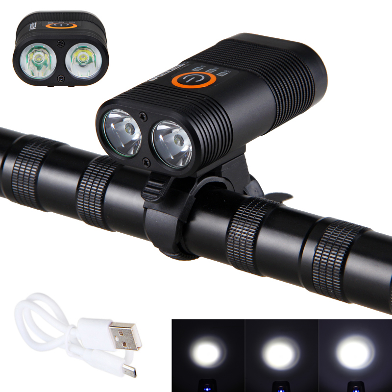 USB Rechargeable Built-in Battery Bike Headlight 2x XM-L T6 LED High Light Cycling Lamp Front Bicycle Flashlight Torch cree xm l t6 bicycle light 6000lumens bike light 7modes torch zoomable led flashlight 18650 battery charger bicycle clip