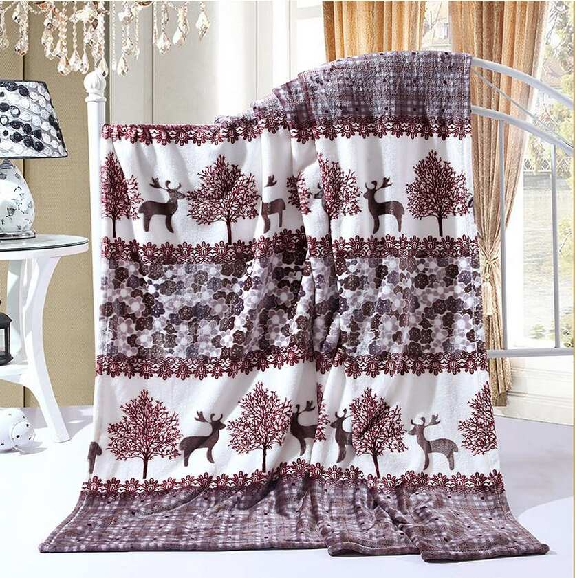 Super Warm Soft Children Blankets For Christmas Thicken Coral Fleece Blanket On The Bed Reindeer Print Throw Blankets Bed Sheet
