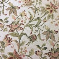 2017 Deluxe Woven Jacquard Beige Flower Heavy Chenille Sofa Chair Fabric Hotel Villas Upholstery Designer Fabric