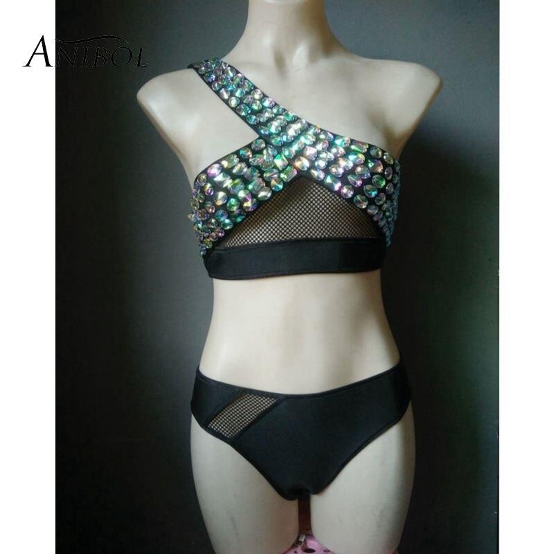 Anibol luxe cristal Bikini strass femmes maillots de bain néoprène surf maillot de bain une épaule noir diamant maillot de bain