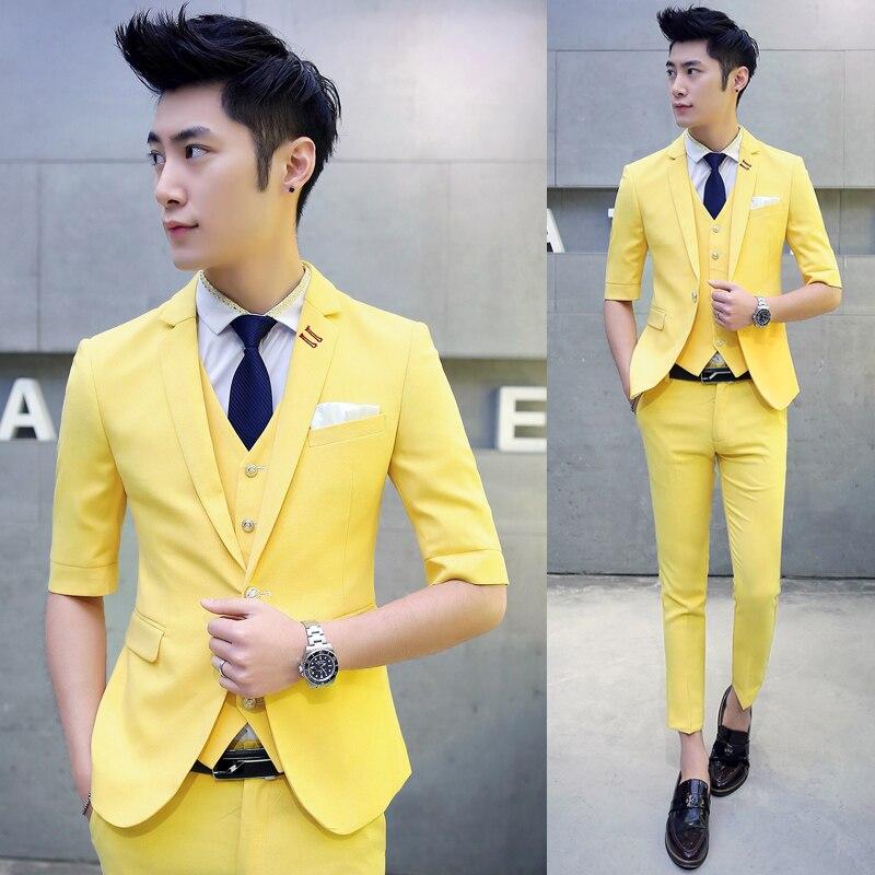 Разноцветный мужской костюм с коротким рукавом, Модный летний костюм, мужской костюм для свадьбы, приталенный мужской костюм