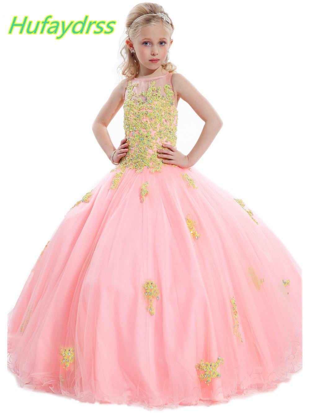 Muchachas de flor se Viste Para Las Bodas de Encaje Perlas Vestido ...
