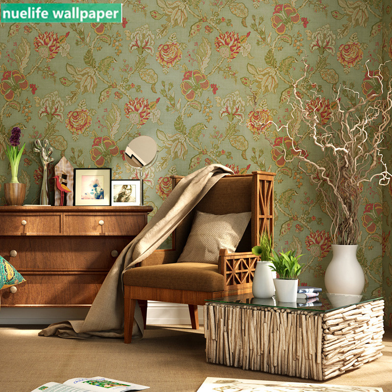 Vintage style américain vert Rose fleur papier peint chambre salon salle de mariage entrée boutique TV fond papier peint