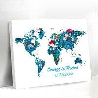 漫画のデザイン世界地図結婚式装飾シックなキャンバスゲストブックかわいい結婚式の世界地図で名前と日付形見用カップル