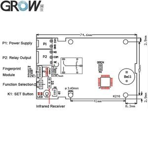 Image 3 - GROW K216 + R502 A mały cienki okrągły pierścień LED pojemnościowy kontrola dostępu za pomocą odcisków palców