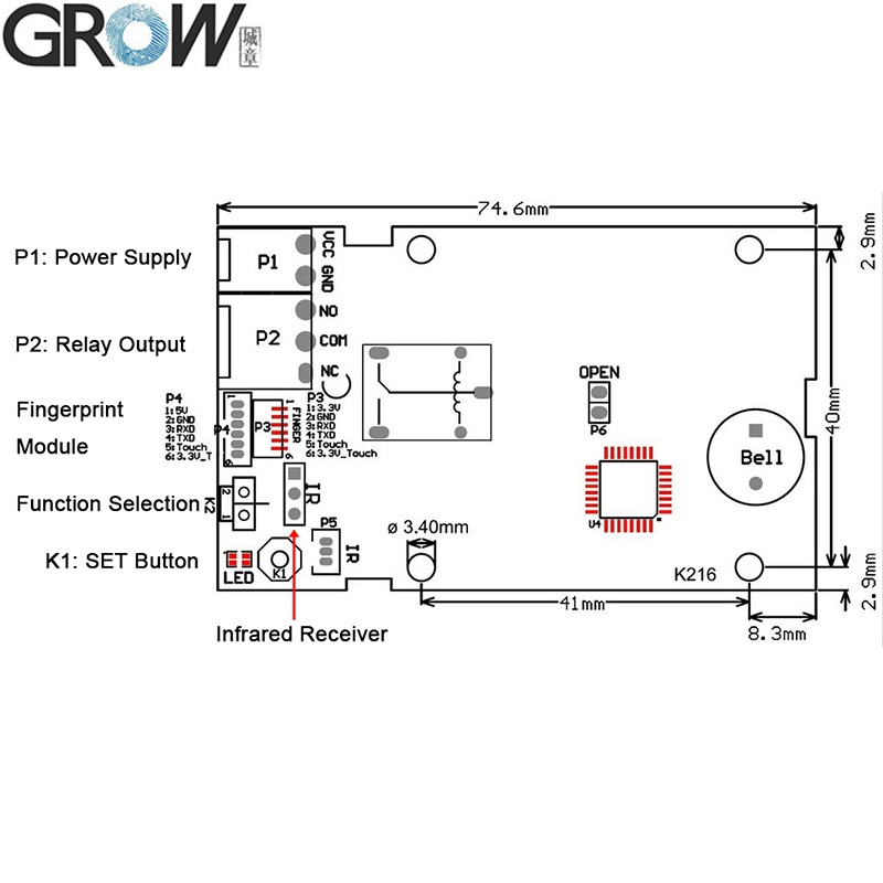 Image 5 - GROW K216+R503 Two Color Ring Indicator Light Capacitive Fingerprint Access Control Board-in Fingerprint Recognition Device from Security & Protection