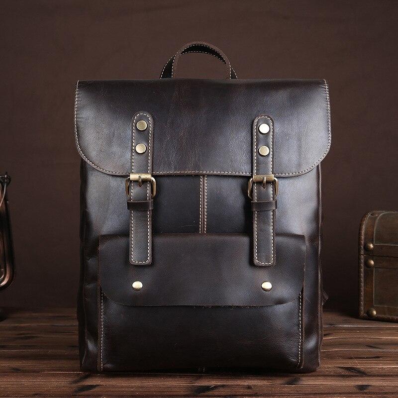 New Fashion Crazy Horse Leather Shoulder Bag Multi-Functional Men & Women school students bag and travel Lock bag
