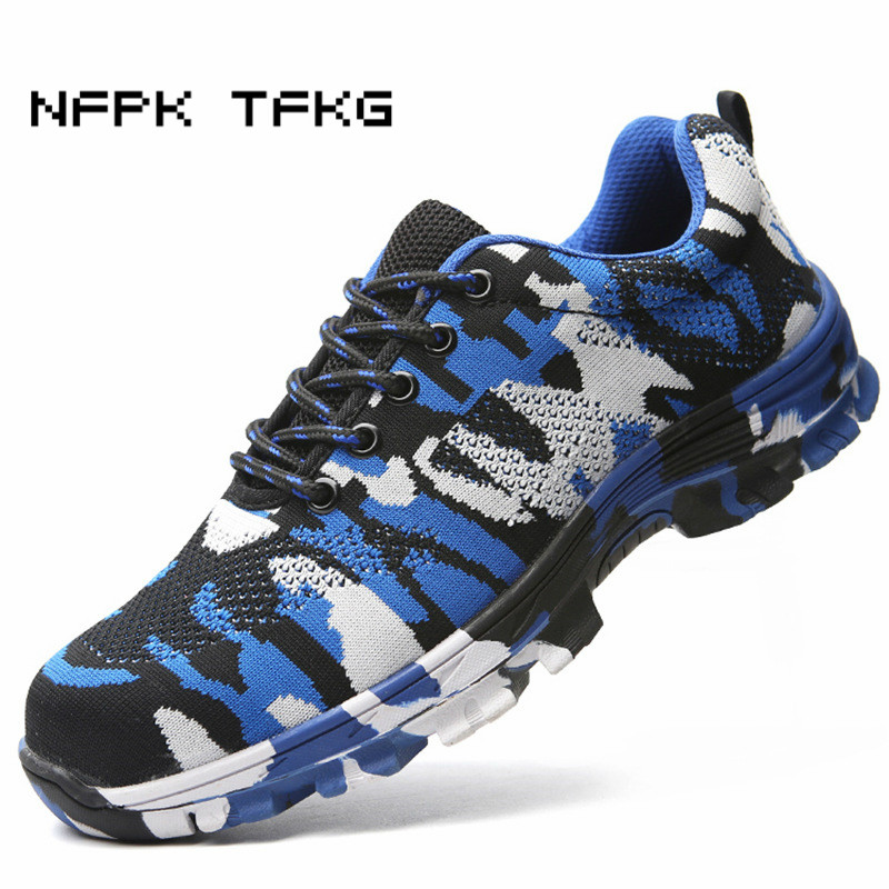 big size mens casual breathable camouflage steel toe caps working safety shoes anti-puncture building site worker security boots