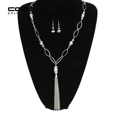 Long Tassel Necklace with Earrings Set Welding Glass Beads Rhinestone Charm Jewelry Sets for Women