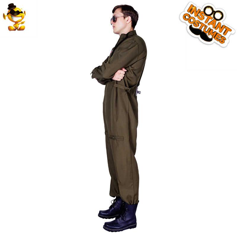DSPLAY คอสเพลย์สไตล์ใหม่ฮาโลวีนผู้ใหญ่ Pilot ผู้ชายชุดเครื่องแต่งกาย Carnival Party เล่นบทบาทรหัสชุด Jumpsuit