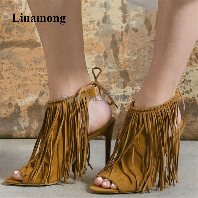 Spring New Fashion Women Open Toe Suede Leather Tassels Pumps Back Cut-out Lace-up Thin Heel Fringes High Heels Dress Shoes cut out back plunging kimono dress