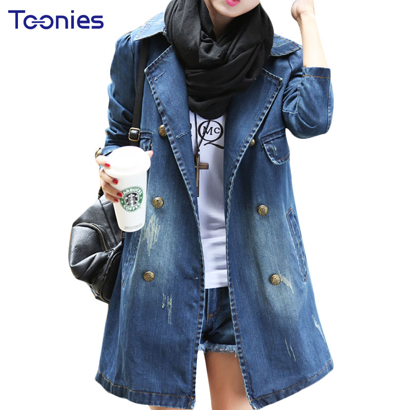 8646d189228 New Type 2017 Spring Autumn Female Denim Coat Outfit Slim Jeans Long Jacket  Women Long Sleeved
