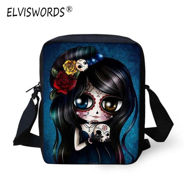 fd13ff8139 ELVISWORDS Kinder Cartoon Anime Tasche Frauen Nette Schädel Gedruckt Halloween  Mädchen Blume Design Mini Kleine Casual