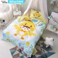 Bebé chick yellow bird juegos de cama de tamaño doble 100% edredón de algodón azul cubierta 3d de cama 3/4 pc hoja de cama individual kid chica decoración