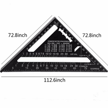 New Triangular Measuring Ruler 7 Inch Metric Aluminum Alloy Speed Square Roofing Triangle Angle Protractor Trammel Tools