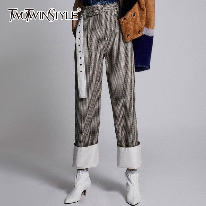 TWOTWINSTYLE Plaid Trouser For Women   Wide     Leg     Pants   High Waist Hem Cuffs Casual Loose   Pants   Autumn Fashion Tide 2018