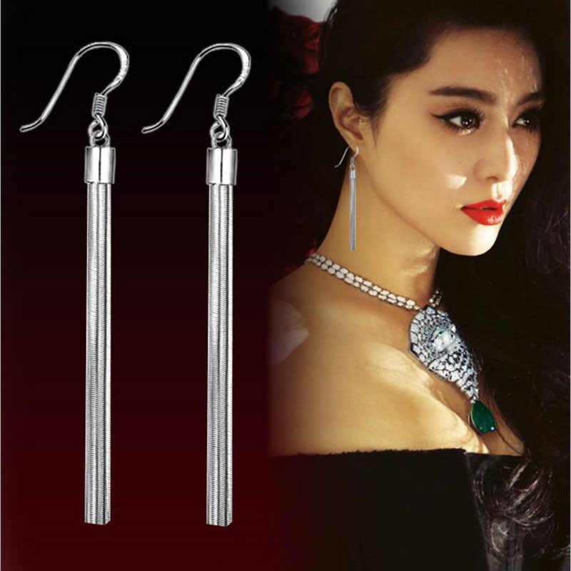 Модные серьги серебристого цвета с кисточками, серьги с длинными цепочками, винтажные женские серьги в турецком и американском стиле с 925 печатью, ювелирные изделия для ушей