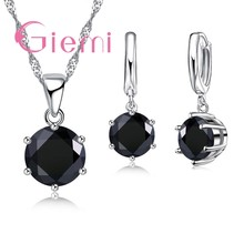 Black Clear Crystal Cubic Zircon Necklace Pendant Hoop Earrings Jewelry Sets 925 Sterling Silver For Brial Wedding Present(China)