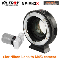 Viltrox NF M43X 0.71X Lens Mount Adapter Ring Focal Reducer Speed Booster 8 Aperture Manual Focus for Nikon for Micro 4/3 Camera