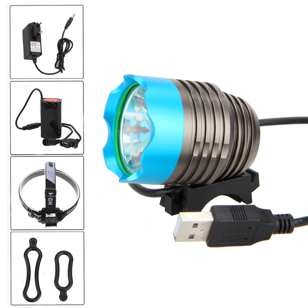 5000lm USB Rechargeable Bicycle Lamp XM-L T6 Front Handlebar Bike Light Cycling Headlight Head Torch Light +Battery Pack+Charger cycling 9000lm 6x xm l t6 led head front bicycle light bike lamp headlamp torch