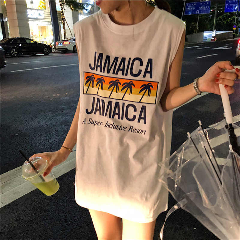 SUNJINACRO 2018 Marke Neue Mode Sommer Frauen Mädchen Ärmellose Baumwolle Druck Lange Dünnes T-Shirt T-stück Bluse Weste Tank Tops