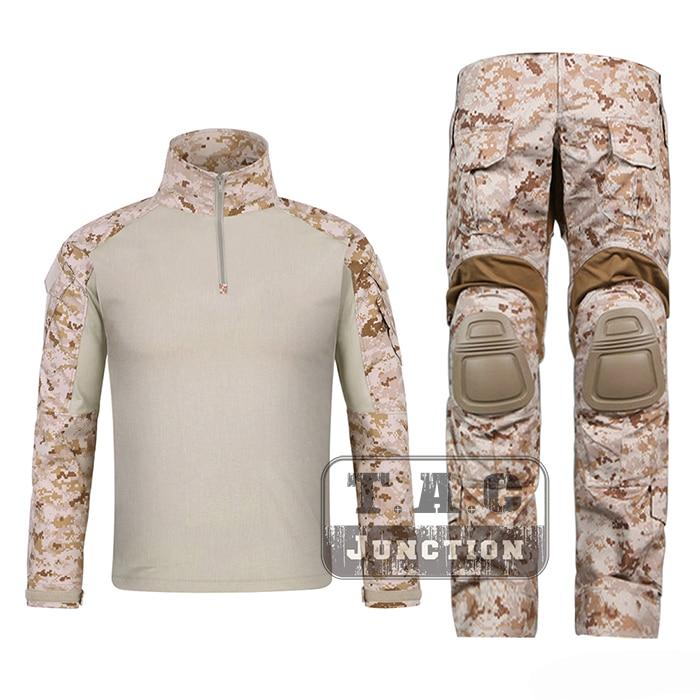 Emerson G3 Combat Shirt & Pants Tops+Trousers w/ Knee Pads Set AOR1 EmersonGear Tactical Hunting GEN3 Camouflage BDU Uniform