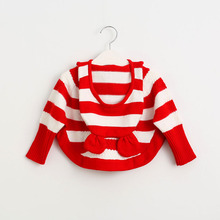 2016 Baby Girls Striped Hooded Sweaters Kids Girls Cartoon Knitted Pullover Girl Fashion Autumn Cute Jumper tops Babies clothes