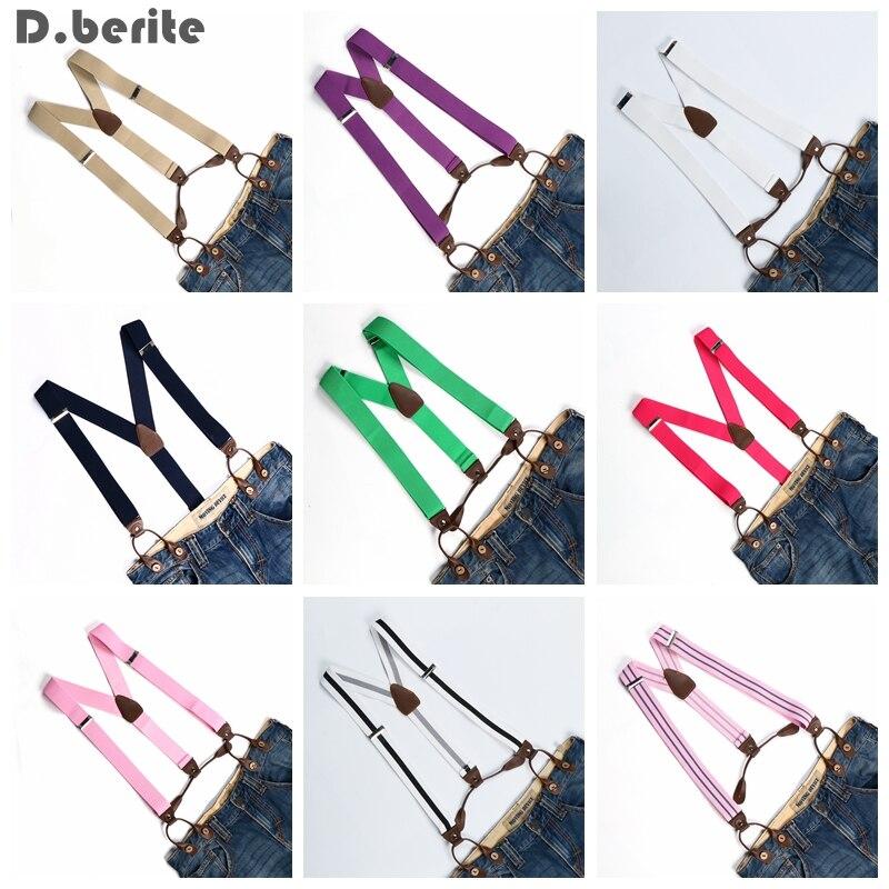 Men Suspenders Women Solid Adjustable Elastic Belt Strap 6 Button Hole Brace Unisex Leather Fittings Braces Adult Gallus BD7