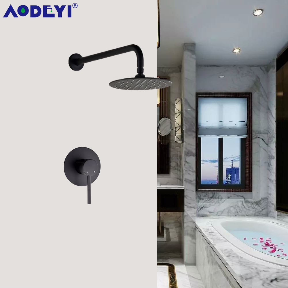 AODEYI Wall Mounted Bathroom Rainfall Shower System Brass Hot and Cold Mixer Valve 8 10 12