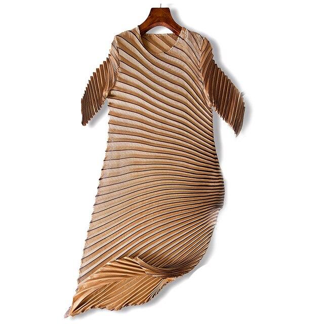 LANMREM 2019 spring New Fashion Pleats Three Quarter Sleeve Irregular Dress Female's Loose Elastic Women Clothing Vestido YE852 5