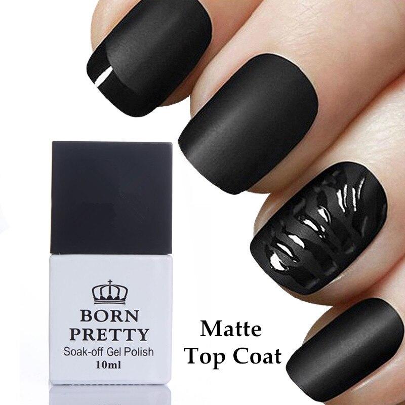 BORN PRETTY 10ml Matte Top Coat Gel Polish No Wipe Soak Off Long ...