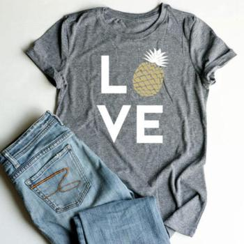 Summer Women T-Shirt Tops Love Pineapple Print Gray Top O-Neck Short Sleeve Casual T shirt Female Tee Ladies 3XL