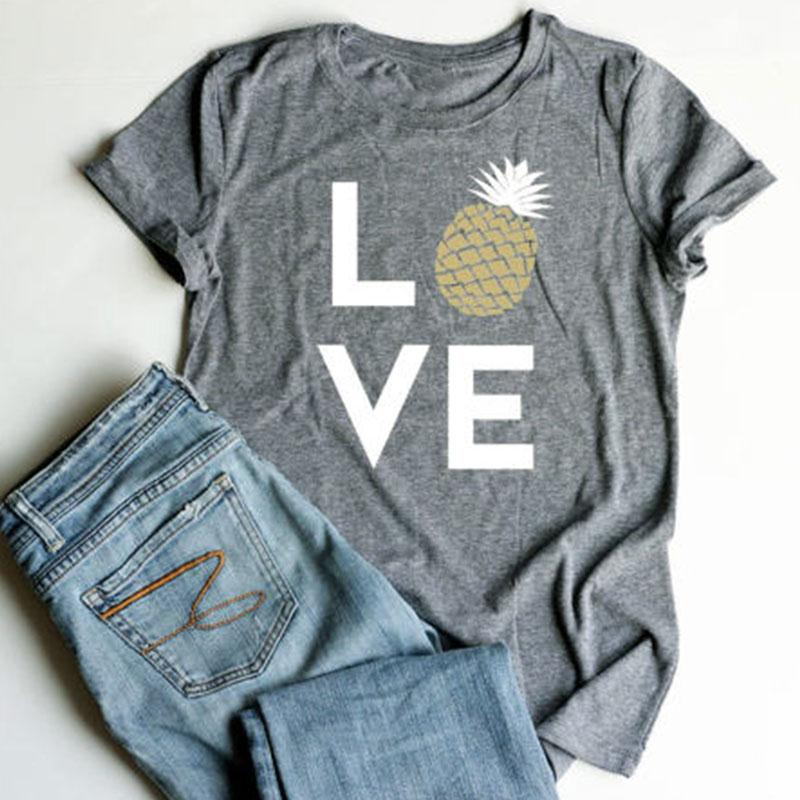 Plus Size Summer Women T-skjorte Topper Love Pineapple Print Grey Top O-Neck Short Sleeve Casual T-skjorte Female Tee Ladies 3XL